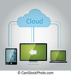 data share - a blue cloud with a lot of links to another...