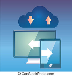 data share - a blue cloud with two different screens and...