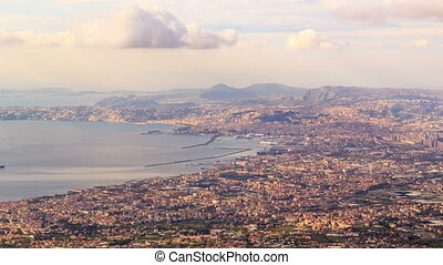 View of Naples with Vesuvius. Naples, Italy. Time Lapse -...