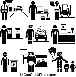 Poor Low Class Jobs Occupations - A set of human pictograms...