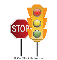 traffic light and stop signal - a traffic light with a stop...