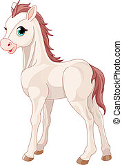 Horse foal  - Cartoon illustration of cute horse foal