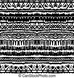Ethnic pattern in black and white with stripes - Ethnic...