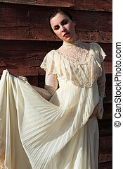 Victorian dress - Pretty brunette in a vintage Victorian...