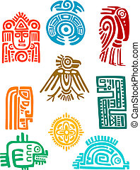 Ancient maya elements and symbols set of religious design...