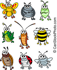 Cartoon insects - Set of doodle cartoon insects. Vector...