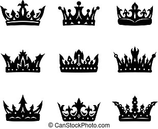 Black heraldic royal crowns set Vector illustration