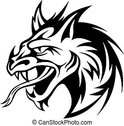 Angry dragon - Angry black dragon in tribal style. Vector...
