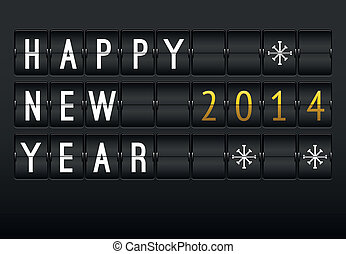 Mechanical timetable, happy New Year 2014 card. Set of...