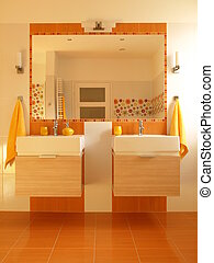 Orange bathroom with double sink - Sunny children bathroom...