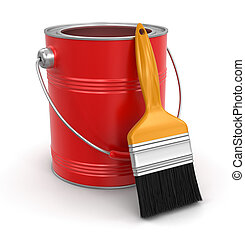 Paint can with brush (clipping path
