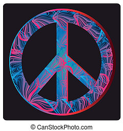 peace symbol - a peace symbol with a lot of colors and...