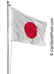 3D Japanese flag with fabric surface texture White...