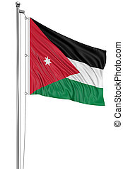 3D Jordan flag with fabric surface texture White background...