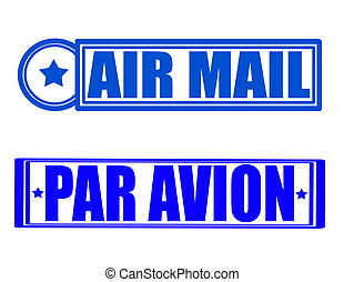 Air mail - Stamp with text air mail inside, vector...