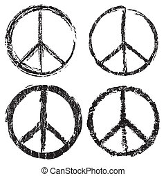 Set of grunge peace symbol on white background, vector...