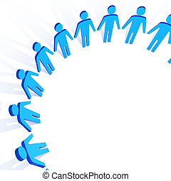 circle of people - fine 3d image of people in circle...
