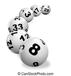 lottery - illustration of lottery balls rolling on a white...