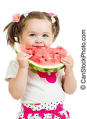 child girl eating watermelon isolated on white