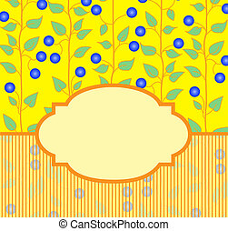 blue berries - yellow frame with blue berries on a striped...