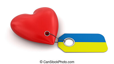 Heart with Ukrainian flag Image with clipping path