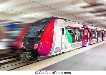 Modern Fast Passenger Train. Motion effect - Modern Fast...