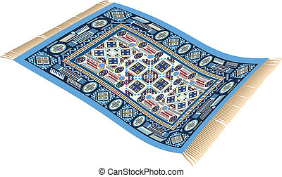 Magic Carpet Blue - Illustration of a magic carpet (flying...