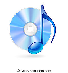 Music icon. - CD disc and blue musical note as music icon.