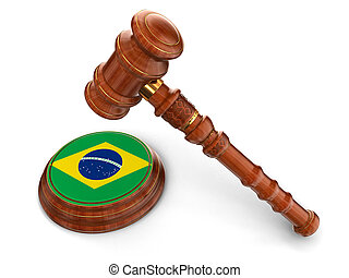 Wooden Mallet and Brazilian flag