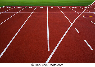 New running track with number 1-8 & green grass, abstract, texture, background.