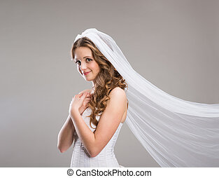 Beautiful Bride with veil - Portrait of beautiful bride with...