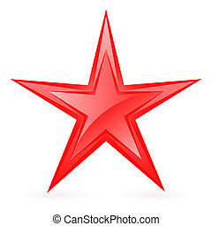Red star. - Glossy red star. Illustration on white...