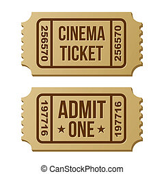 Retro cinema ticket Vector Illustration on a white...
