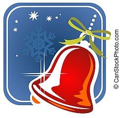 christmas handbell - Christmas handbell and snowflake on a...