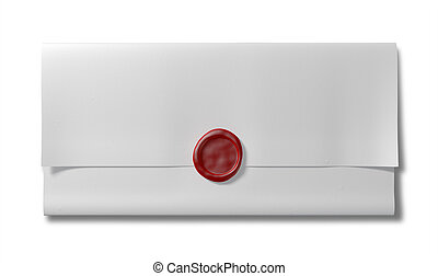 Folded White Paper With Red Wax Seal Top - A piece of white...