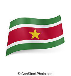 State flag of Suriname. - National flag of Suriname: red...