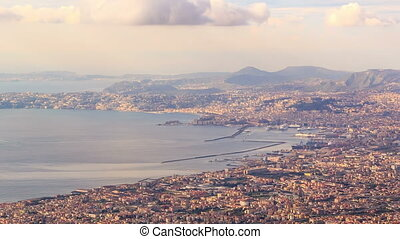 View of Naples with Vesuvius Naples, Italy Time Lapse 4K -...