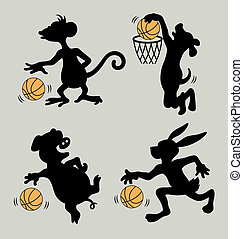 Animal Play Basketball Silhouettes - Nice, clean and smooth...