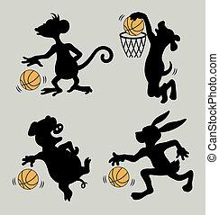Animal Play Basketball Silhouettes