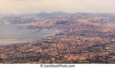 View of Naples with Vesuvius. Naples, Italy. Time Lapse. 4K...