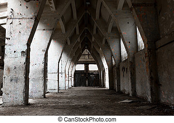 abandon industrial interior - a desolate old industrial...