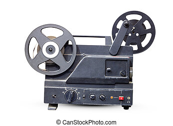 Movie Projector - Old film projector old black isolated on...