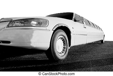 White Limousine - White limousine in black and white.