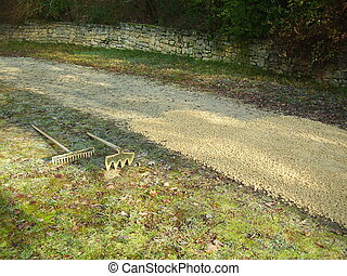 Gravel Path - Old drive being covered with new castings...