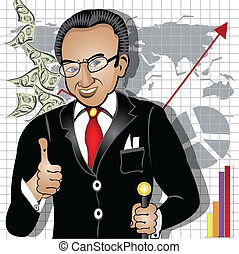 cartoon rich man - Cartoon vector illustration of a smiling...