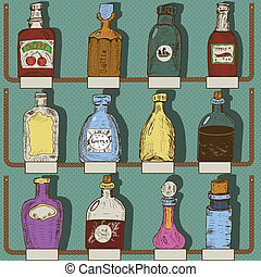 collection of bottles - Vector illustration of different...