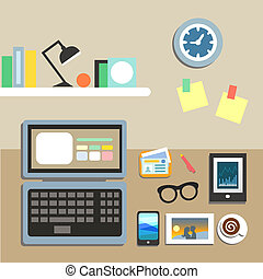 Set of office workplace items on the table vector...