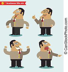 Boss emotions in poses, standing set vector illustration