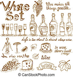 Set of wine elements for design vector illustration