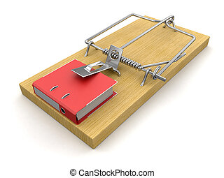 Mousetrap and Document. Image with clipping path